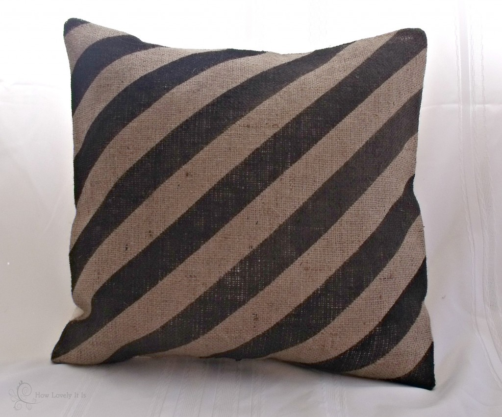 Striped Burlap Pillow | How Lovely It Is